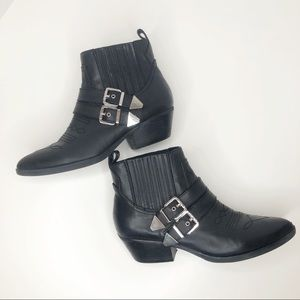 Guess Black Violla Western Buckle Ankle Boots